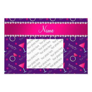 Custom name purple bachelorette cocktails rings photo print