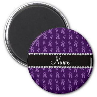 Custom name purple ballet shoes magnets