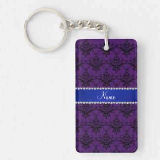 Custom name Purple black damask blue stripe Acrylic Keychain