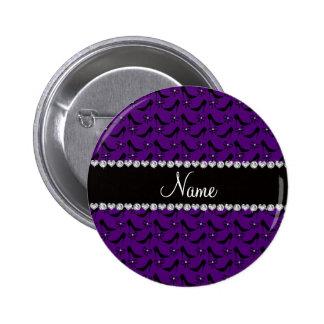 Custom name purple black high heels bow diamond 2 inch round button