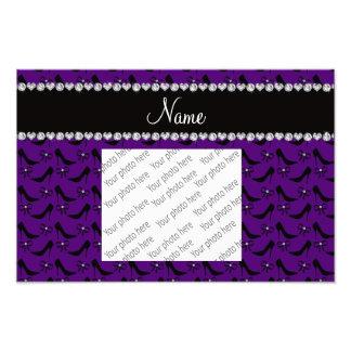 Custom name purple black high heels bow diamond photo art