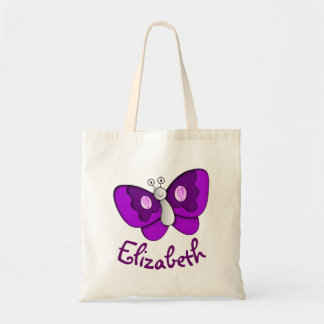 Custom Name Purple Butterfly Tote