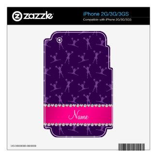 Custom name purple cheerleading pink stripe iPhone 2G decal