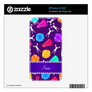 Custom name purple cheerleading pompoms decal for the iPhone 4S