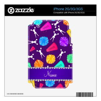Custom name purple cheerleading pompoms iPhone 2G decal