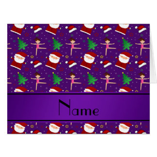 Custom name purple christmas gymnastics santas card