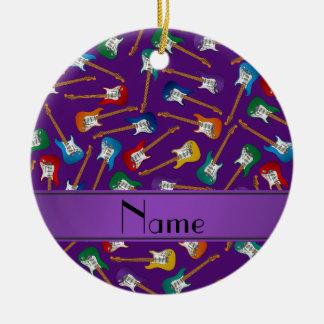 Custom name purple colorful electric guitars ceramic ornament