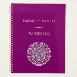 Custom Name Purple Colorful Mandala Planner