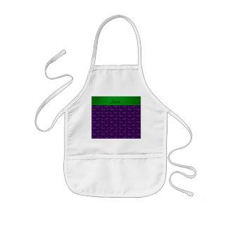 Custom name purple dachshund green stripe aprons