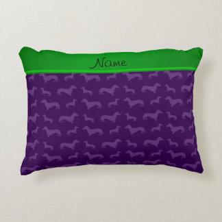 Custom name purple dachshund green stripe decorative pillow