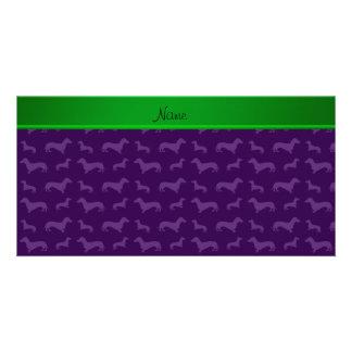 Custom name purple dachshund green stripe custom photo card