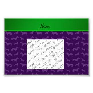Custom name purple dachshund green stripe photo