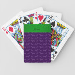 Custom name purple dachshund green stripe card deck