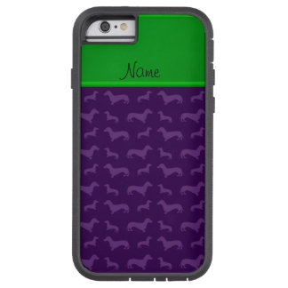 Custom name purple dachshund green stripe tough xtreme iPhone 6 case