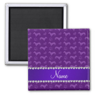Custom name purple dachshunds hearts paws magnets