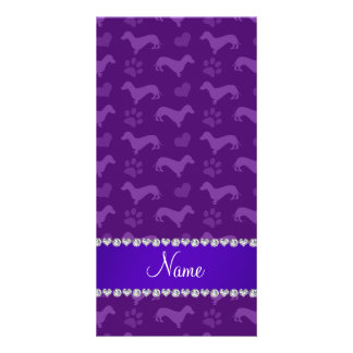Custom name purple dachshunds hearts paws custom photo card