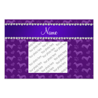 Custom name purple dachshunds hearts paws photograph