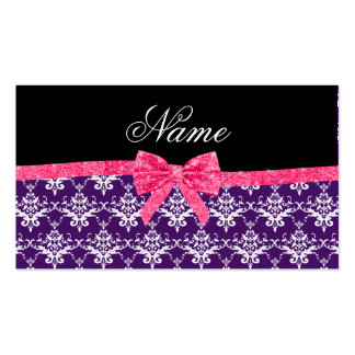 Custom name purple damask pink glitter bow business cards