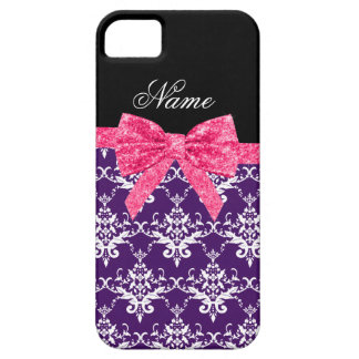 Custom name purple damask pink glitter bow iPhone 5 covers