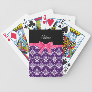 Custom name purple damask pink glitter bow bicycle playing cards
