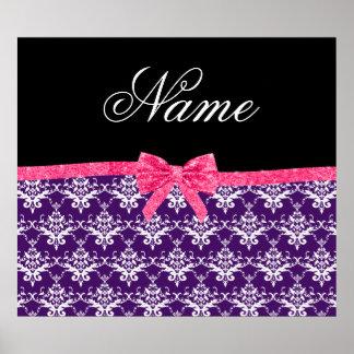 Custom name purple damask pink glitter bow poster