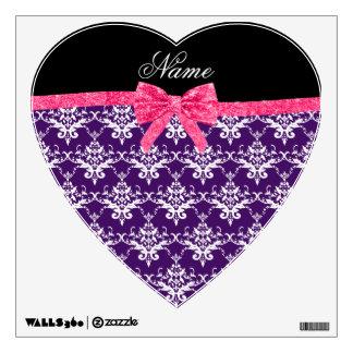 Custom name purple damask pink glitter bow wall skins