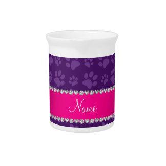 Custom name purple dog paw prints pink stripe pitcher