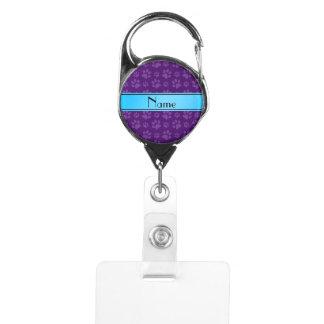 Custom name purple dog paws blue stripe badge holder