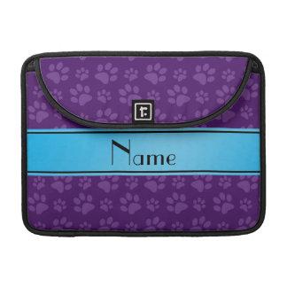Custom name purple dog paws blue stripe MacBook pro sleeves