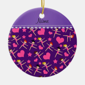 Custom name purple girl gymnasts hearts stars ceramic ornament