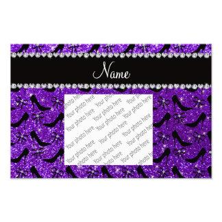 Custom name purple glitter black high heels bow photographic print