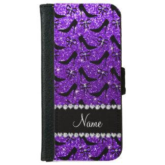 Custom name purple glitter black high heels bow wallet phone case for iPhone 6/6s
