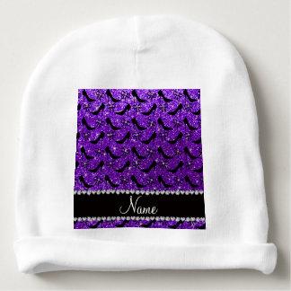 Custom name purple glitter black high heels bow baby beanie