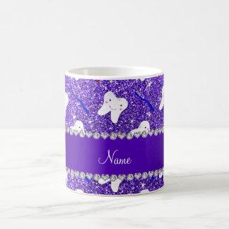 Custom name purple glitter brushes and tooth coffee mug