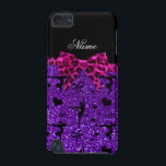 "Custom name purple glitter gymnastics pink bow iPod touch (5th generation) case<br><div class=""desc"">Modern, girly and trendy Custom name purple glitter (not real glitter) gymnastics pattern background and with a pretty pink leopard (wild animal print) bow personalized with just add your name gifts or monogram gifts or your initials for a unique gift. Gymnastics gift ideas for women and girls. Ideal for gymnasts....</div>"