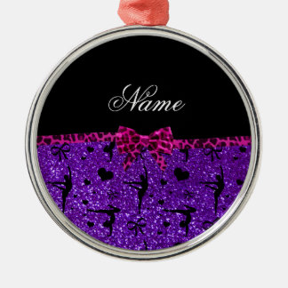 Custom name purple glitter gymnastics pink bow round metal christmas ornament