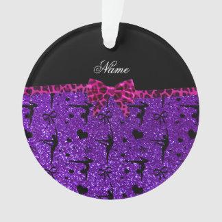 Custom name purple glitter gymnastics pink bow ornament