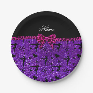 Custom name purple glitter gymnastics pink bow paper plate