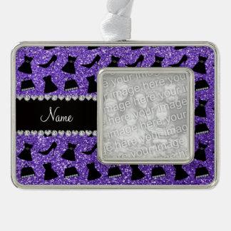 Custom name purple glitter high heels dress purse christmas ornament