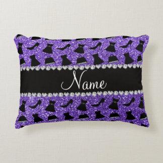 Custom name purple glitter high heels dress purse accent pillow
