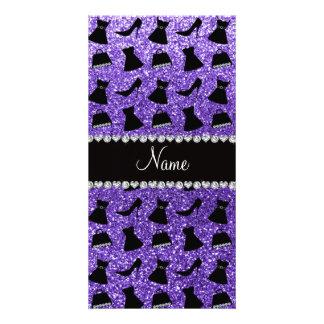 Custom name purple glitter high heels dress purse photo card
