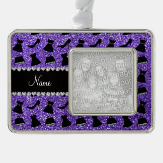 Custom name purple glitter high heels dress purse silver plated framed ornament