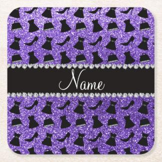 Custom name purple glitter high heels dress purse square paper coaster