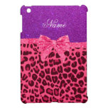 Custom name purple glitter pink leopard bow cover for the iPad mini