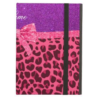 Custom name purple glitter pink leopard bow iPad folio cases
