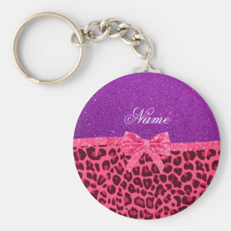 Custom name purple glitter pink leopard bow keychain