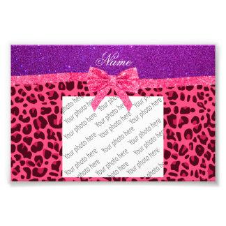 Custom name purple glitter pink leopard bow photograph