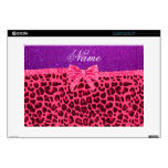 Custom name purple glitter pink leopard bow decals for laptops