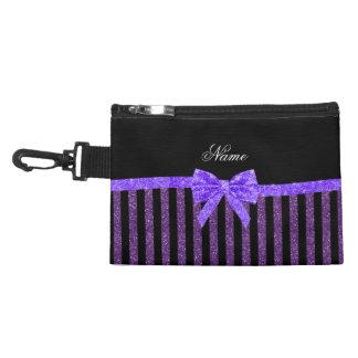 Custom name purple glitter stripes glitter bow accessory bag
