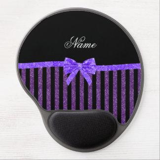 Custom name purple glitter stripes glitter bow gel mouse pad